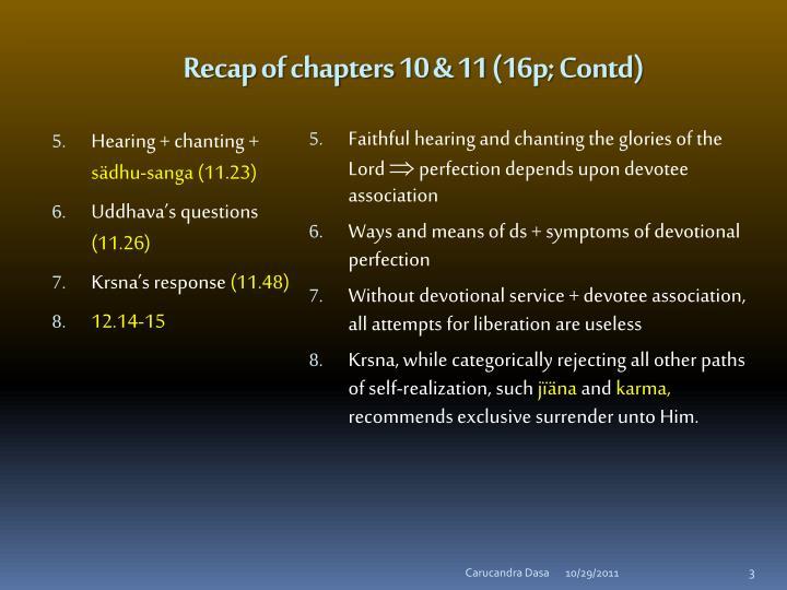 Recap of chapters 10 & 11 (