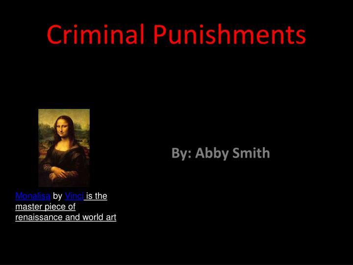 Criminal punishments