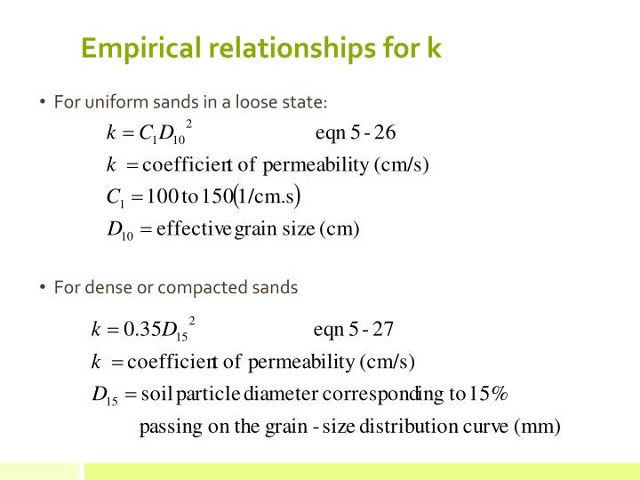 Empirical relationships for k
