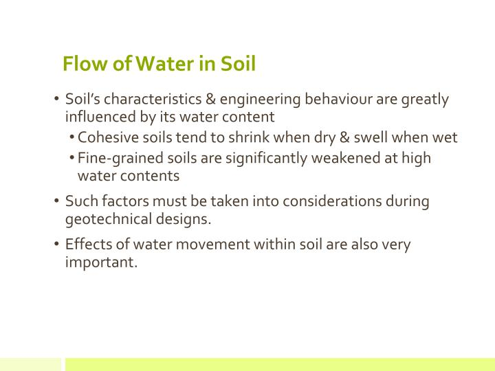 Flow of Water in Soil