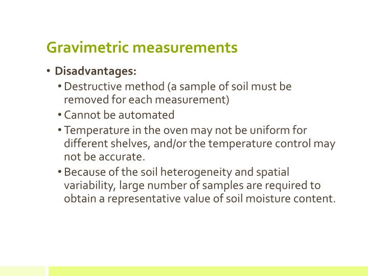 Gravimetric measurements