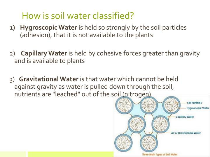 How is soil water classified?