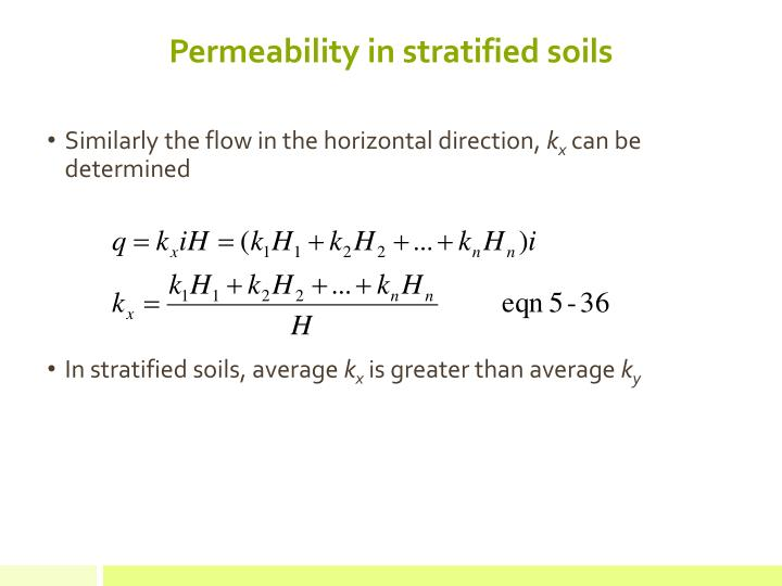 Permeability in stratified soils