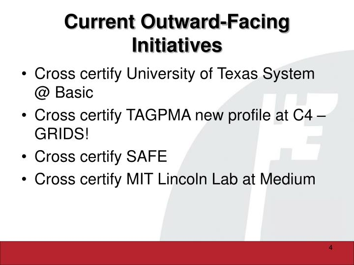 Current Outward-Facing Initiatives