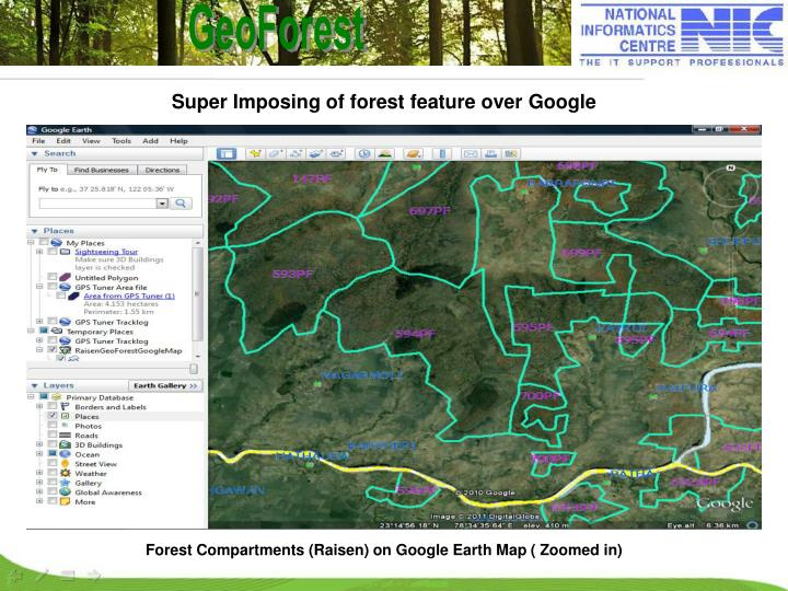 Forest Compartments (Raisen) on Google Earth Map ( Zoomed in)