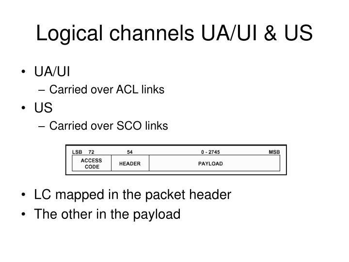 Logical channels UA/UI & US
