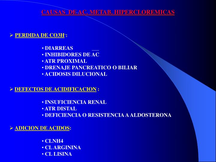 CAUSAS  DE AC. METAB. HIPERCLOREMICAS