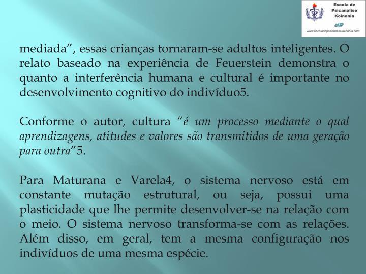 mediada, essas crianas tornaram-se adultos inteligentes. O relato baseado na experincia de Feuerstein demonstra o quanto a interferncia humana e cultural  importante no desenvolvimento cognitivo do indivduo5.