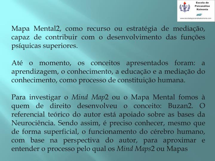 Mapa Mental2, como recurso ou estratgia de mediao, capaz de contribuir com o desenvolvimento das funes psquicas superiores.