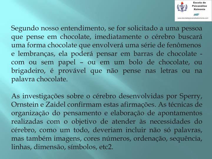 Segundo nosso entendimento, se for solicitado a uma pessoa que pense em chocolate, imediatamente o crebro buscar uma forma chocolate que envolver uma srie de fenmenos