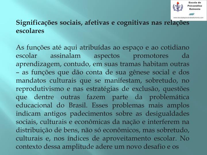 Significaes sociais, afetivas e cognitivas nas relaes escolares