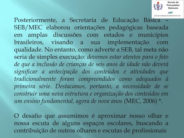 Posteriormente, a Secretaria de Educao Bsica  SEB/MEC elaborou orientaes pedaggicas baseada em amplas discusses com estados e municpios brasileiros, visando a sua implementao com qualidade. No entanto, como adverte a SEB, tal meta no seria de simples execuo: