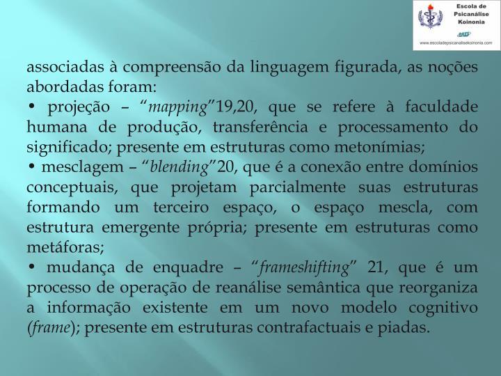 associadas  compreenso da linguagem figurada, as noes abordadas foram: