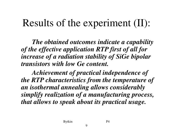Results of the experiment (II):