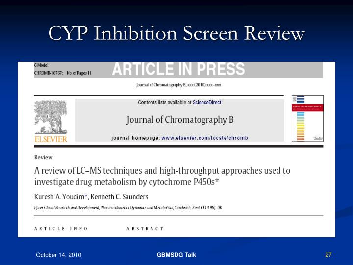 CYP Inhibition Screen Review