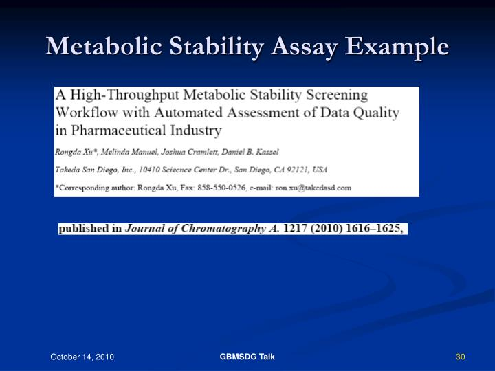 Metabolic Stability Assay Example