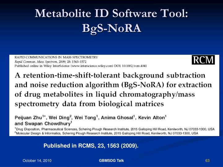 Metabolite ID Software Tool: