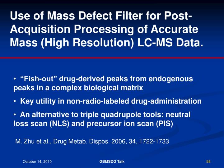 Use of Mass Defect Filter for Post-Acquisition Processing of Accurate Mass (High Resolution) LC-MS Data.
