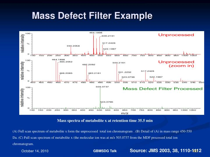 Mass Defect Filter Example