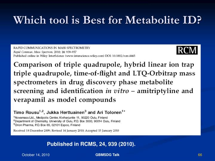 Which tool is Best for Metabolite ID?