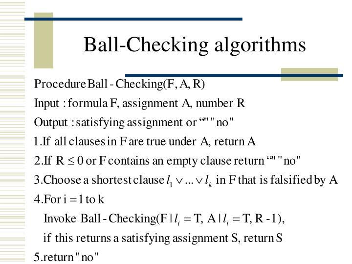 Ball-Checking algorithms