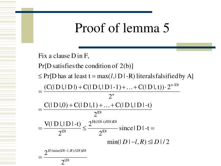 Proof of lemma 5