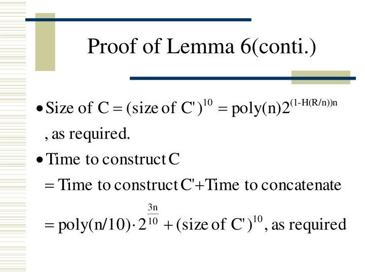 Proof of Lemma 6(conti.)