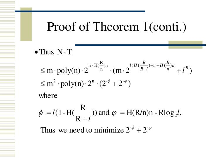 Proof of Theorem 1(conti.)