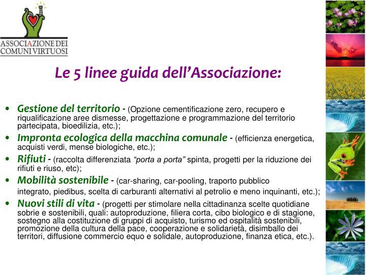 Le 5 linee guida dell'Associazione: