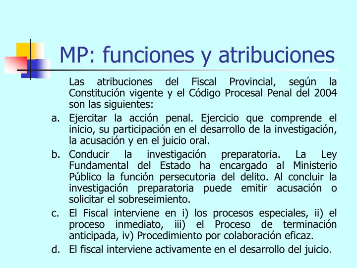 MP: funciones y atribuciones