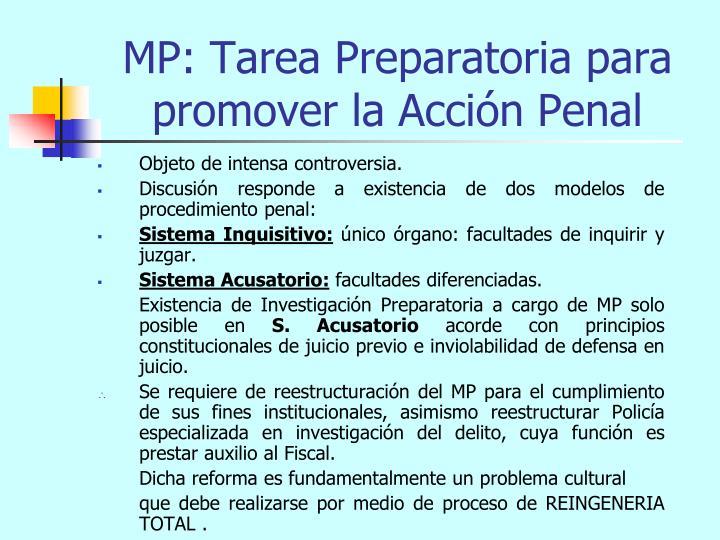 MP: Tarea Preparatoria para promover la Acción Penal