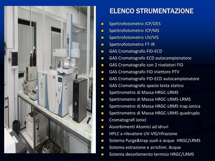 ELENCO STRUMENTAZIONE