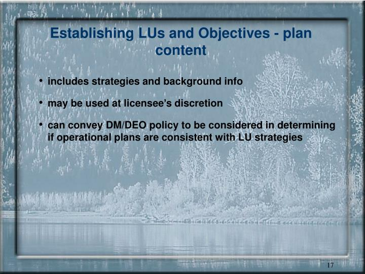 Establishing LUs and Objectives - plan content