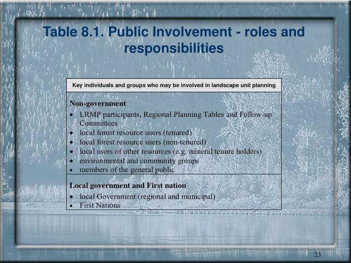 Table 8.1. Public Involvement - roles and responsibilities
