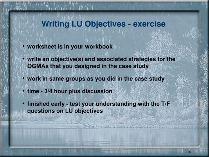 Writing LU Objectives - exercise