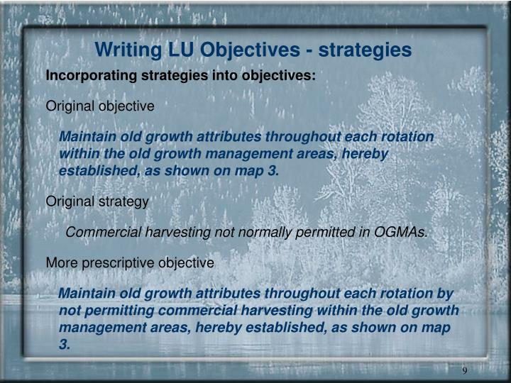 Writing LU Objectives - strategies