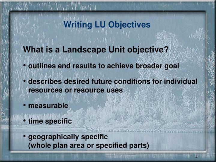 Writing LU Objectives