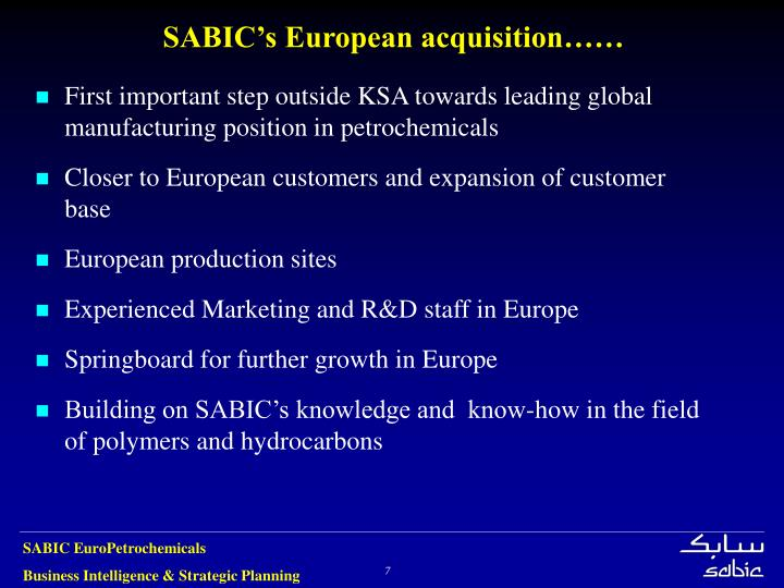 SABIC's European acquisition……