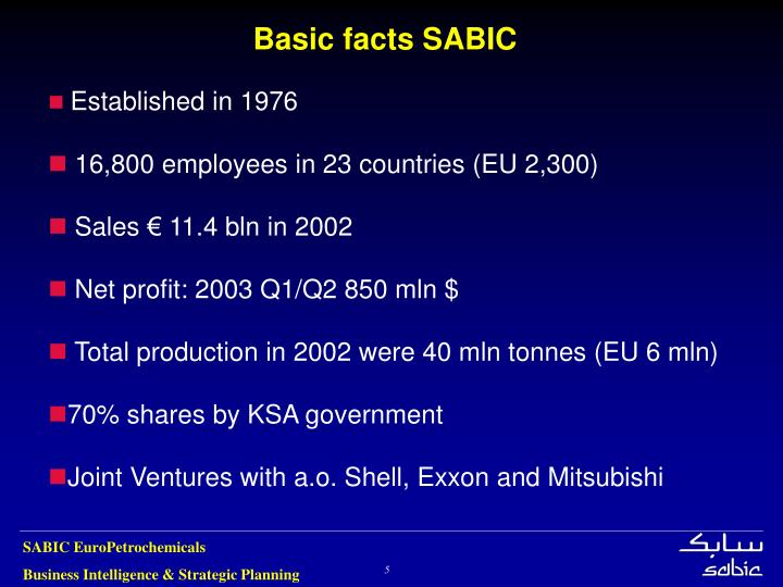 Basic facts SABIC