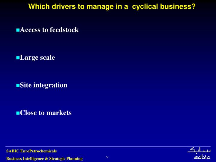Which drivers to manage in a  cyclical business?
