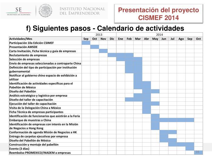 Presentación del proyecto CISMEF 2014