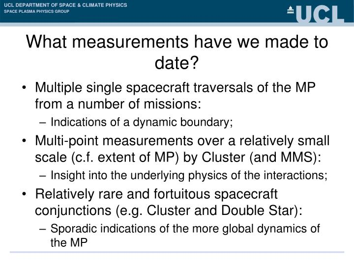 What measurements have we made to date?