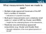 what measurements have we made to date