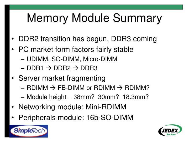 Memory Module Summary