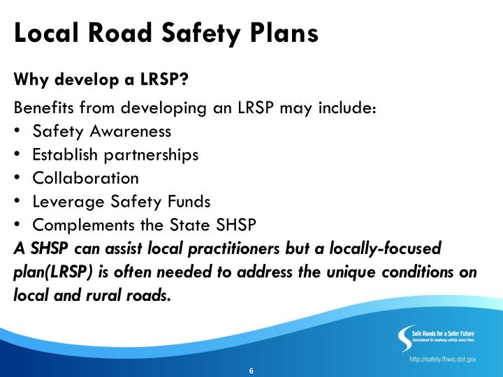 Ppt - Strategic Highway Safety Plan/Developing Local Road Safety