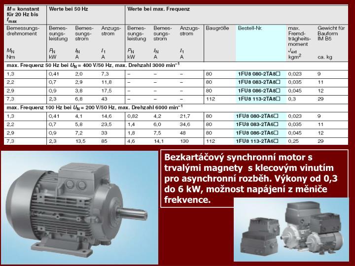 Bezkartáčový synchronní motor s trvalými magnety  s klecovým vinutím pro asynchronní rozběh. Výkony od 0,3 do 6 kW, možnost napájení z měniče frekvence.