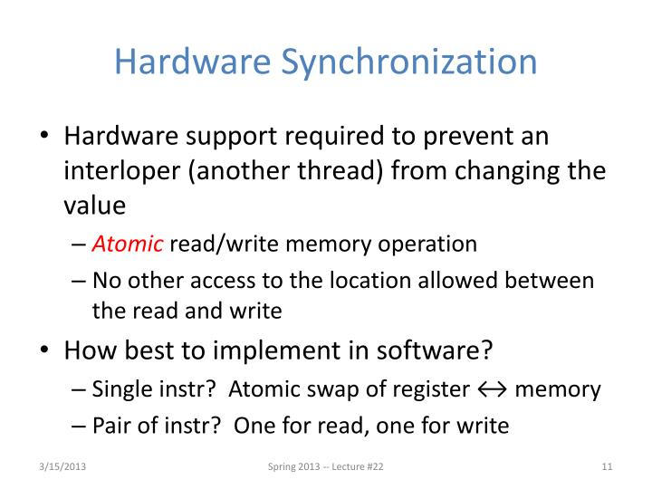 Hardware Synchronization
