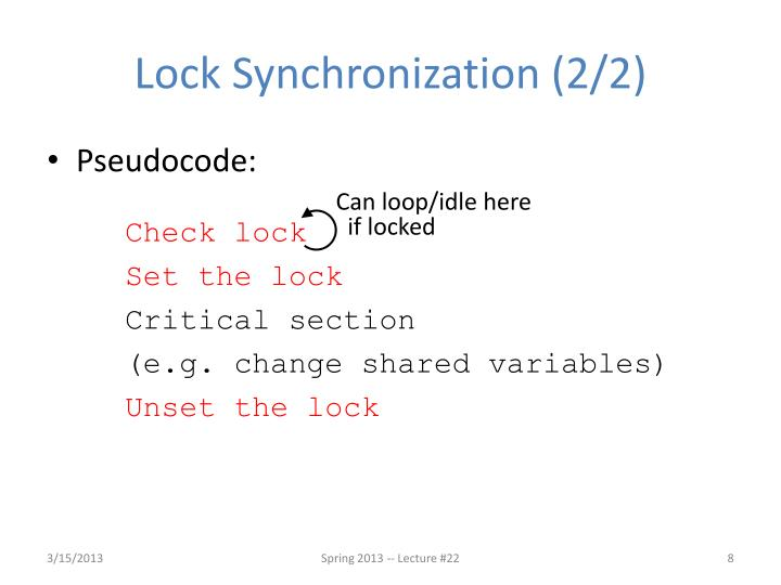Lock Synchronization (2/2)
