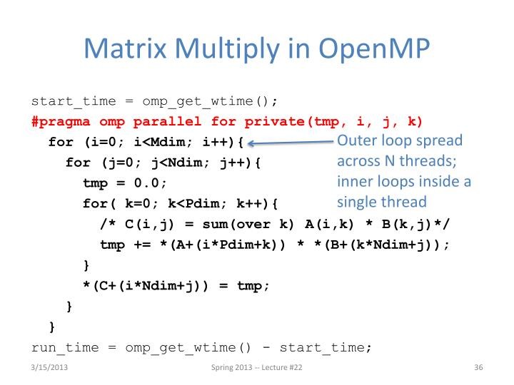 Matrix Multiply in OpenMP