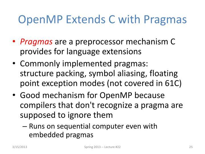 OpenMP Extends C with Pragmas